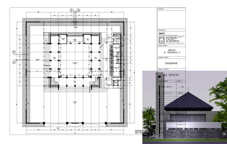 jasa arsitek desain masjid 2 lantai modern