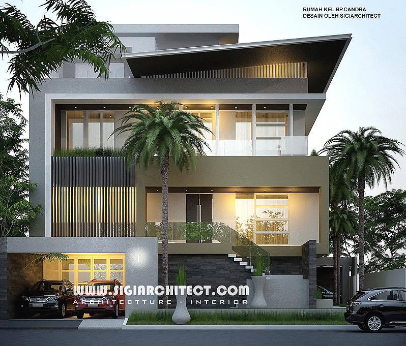 jasa arsitek rumah hoek 3 lantai modern minimalis