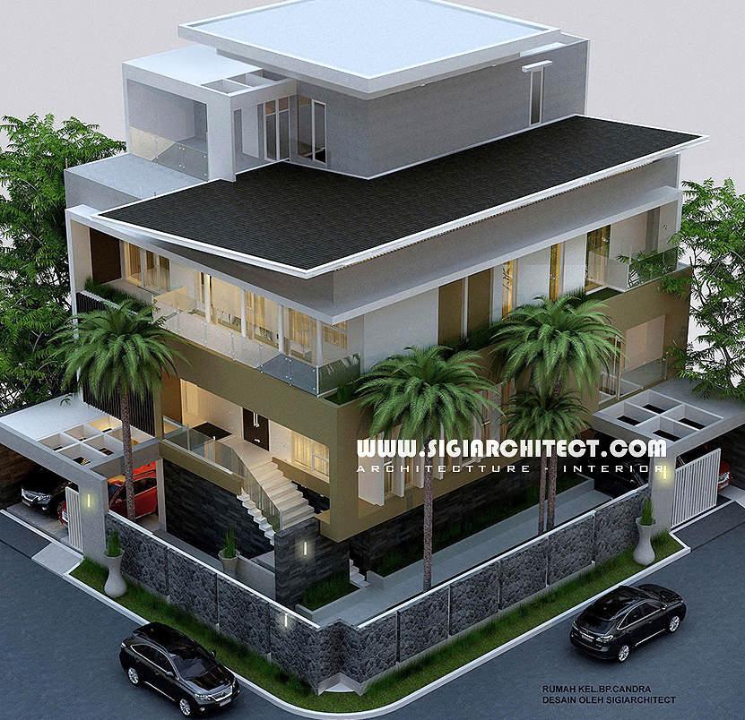 jasa arsitek rumah kavling hoek 3 lantai modern