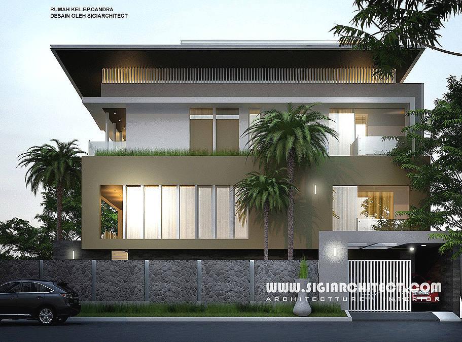 jasa arsitek desain rumah hoek 3 lantai
