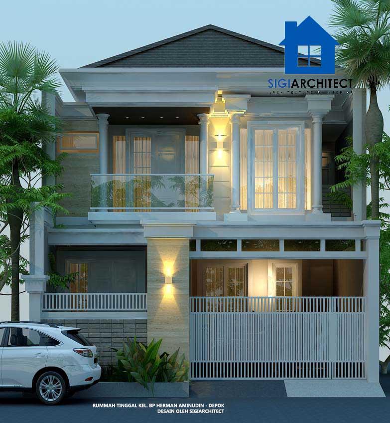 jasa arsitek desain rumah klasik modern 2 lantai type 250m2