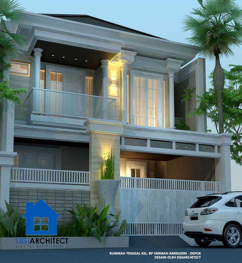 arsitek desain rumah type 250 M2 klasik 2 lantai