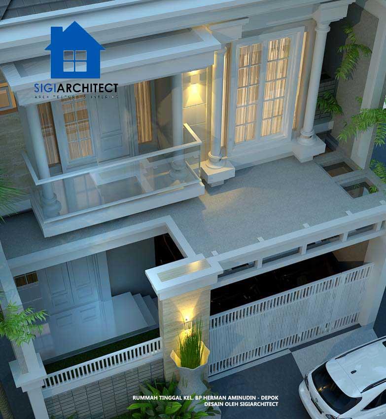 jasa arsitek rumah klasik eropa 2 lantai type 250m2, rumah kalsik modern