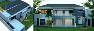 desain rumah mewah fengshui 2 lantai kavling hook, modern
