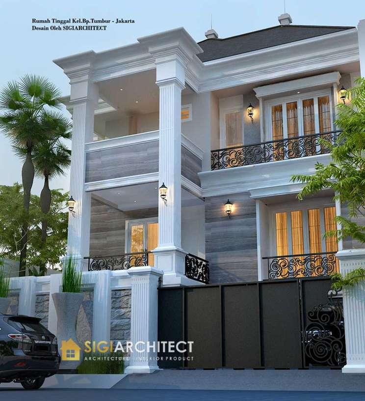 model rumah klasik modern 3 lantai semibasemen