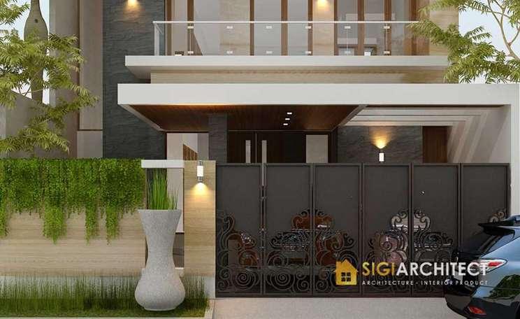 model teras carport rumah tingkat 2 lantai