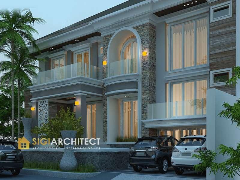 jasa arsitek desain rumah klasik modern 3 lantai kavling hook sigiarchitect