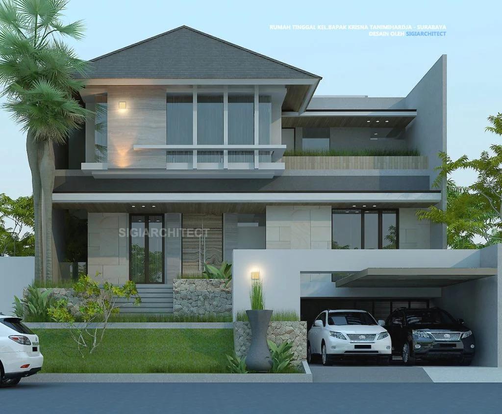 jasa arsitek jakarta desain rumah tropis minimalis 3 lantai