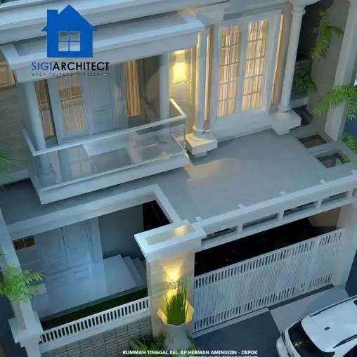 jasa arsitek desain rumah klasik 2 lantai sigiarchitect
