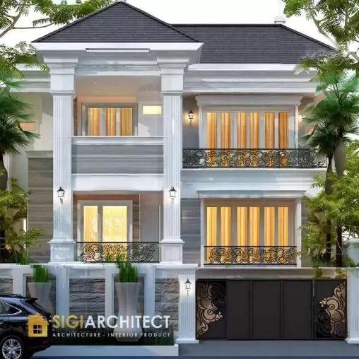 jasa arsitek desain rumah klasik 3 lantai sigiarchitect