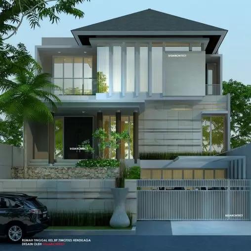 jasa arsitek desain rumah tropis minimalis 3 lantai sigiarchitect