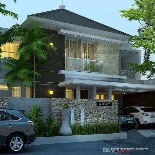 jasa arsitek desain rumah tropis minimalis 2 lantai sigiarchitect