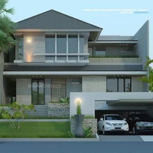 jasa arsitek desain rumah tropis modern 3 lantai sigiarchitect