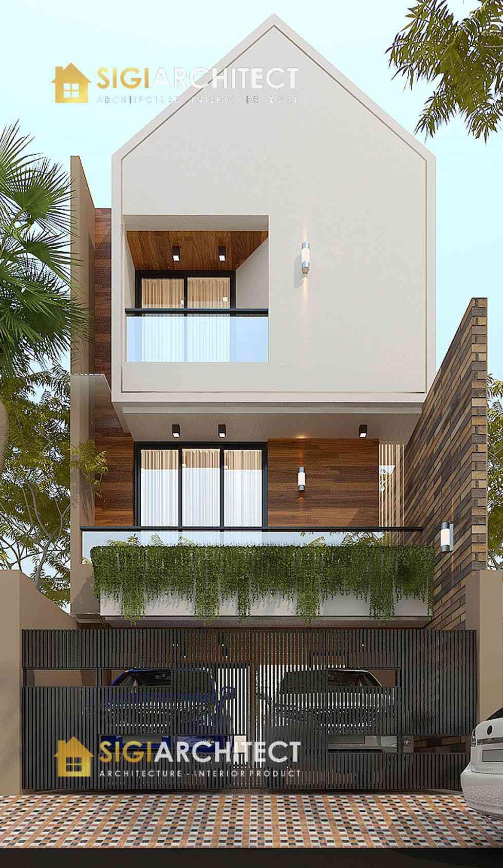 Desain rumah 200 m2 3 lantai 5 6 m