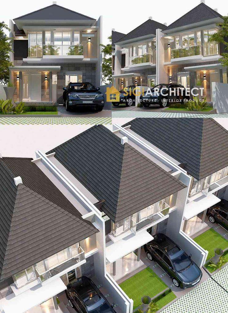 model perumahan tipe 90 - 100 2 lantai minimalis tropis modern
