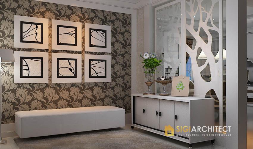 desain interior foyer ruang tamu klasik