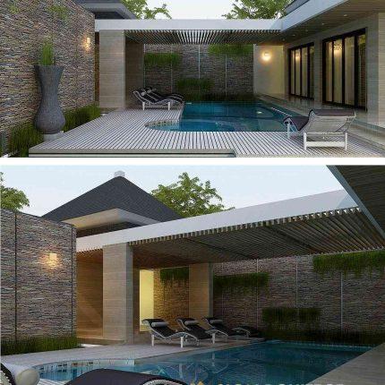 Rumah Mewah 2 Lantai Kolam Renang Privat Desain Modern Minimalis