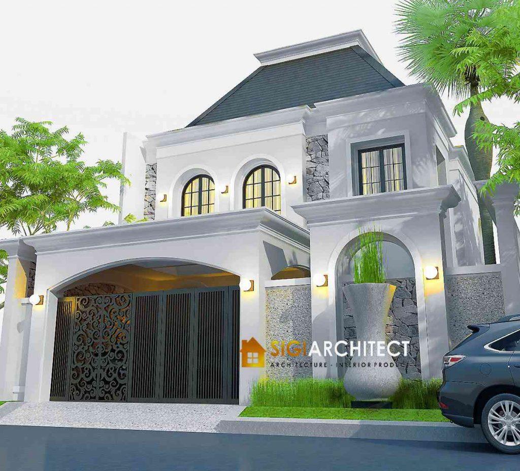 model rumah klasik mediteran 2 lantai