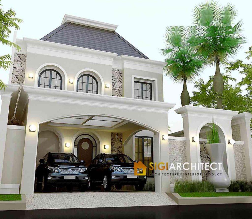 model rumah klasik mediteran 200 m2
