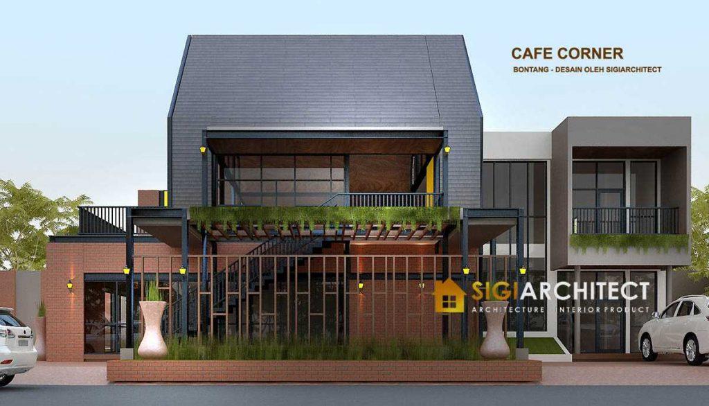 DESAIN CAFE CORNER 2 LANTAI