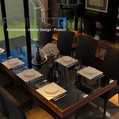 desain interior dining room tropis